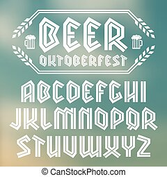 Sans serif decorative font in gothic style. To Oktoberfest theme. White font on blurred background