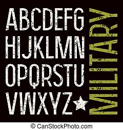 Sans serif font in military style with shabby texture. Medium face. White font on black background