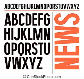 Sans serif font in newspaper style. Bold face. Black font on white background