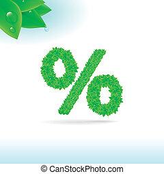 Sans serif font with green leaf decoration