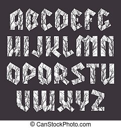 Sans serif geometric font in gothic style with texture of...