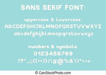 Sans serif modern typeface. Vector alphabet. Uppercase, lowcase number symbol