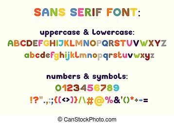 Sans serif modern typeface. Vector alphabet. Uppercase, ...