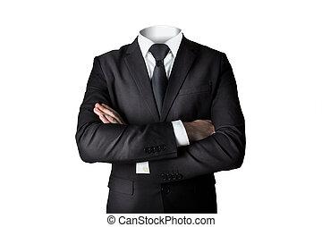 sans, tête, bras, isolé, traversé, homme affaires