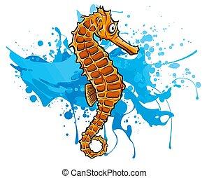 sans, tool., seahorse., vecteur, illustration, maille