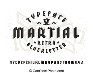 Sanserif font in black letter style and volume effect