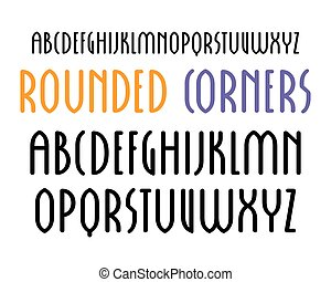 Sanserif font in new gothic style with rounded corners