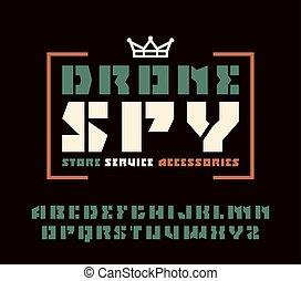 Sanserif stencil-plate font and drone spy emblem