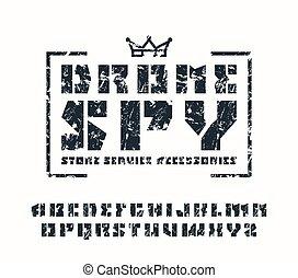 Sanserif stencil-plate font and drone store emblem
