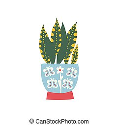 Sansevieria House Plant Growing in Pot, Design Element for Natural Home Interior Decoration Vector Illustration