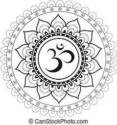 sanskriet, heilig, symbool, om, met, ethn