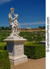 Sanssouci garden sculpture in Potsdam, Germany - Sanssouci...