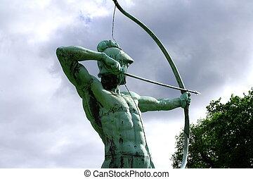 Sanssouci garden sculpture of archer in Potsdam, horizontal