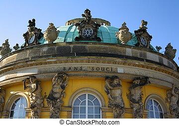 Sanssouci Palace in Potsdam, close up
