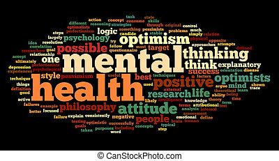 santé, étiquette, mot, mental, nuage