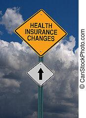santé, changements, assurance, devant, roadsign