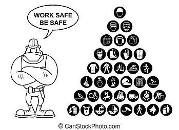 santé, coll, pyramide, sécurité, icône