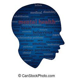 santé, concept, mot, mental