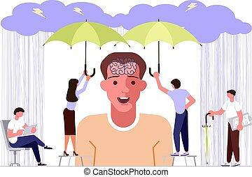 santé, concept, problèmes, mental