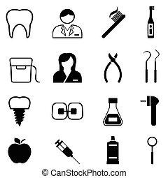santé dentaire, dentiste, icônes