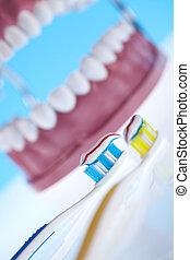 santé dentaire, objets, dents, soin