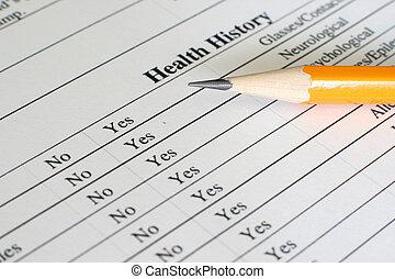 santé, formulaire, histoire