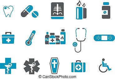 santé, icône, ensemble
