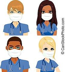 santé, infirmière, masque, équipe