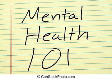 santé mentale, 101, sur, a, jaune, coussin légal