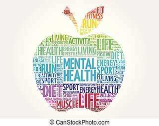 santé mentale, pomme, mot, nuage