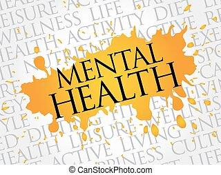 santé, mot, mental, nuage