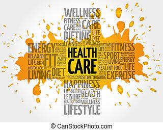 santé, mot, nuage, soin