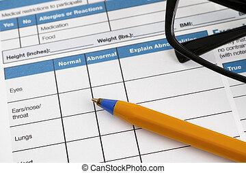 santé, page, formulaire, histoire