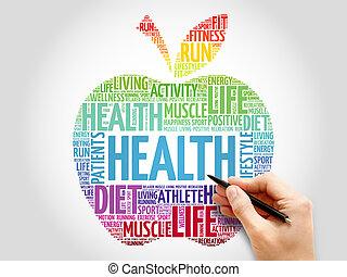 santé, pomme, mot, nuage