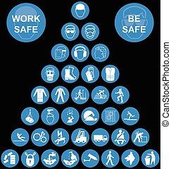 santé, pyramide, sécurité, icône, cyan