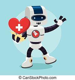 santé, robot, présentation, coeur