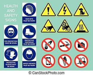 santé, sécurité, collection, signes