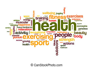 santé, sport, mot, nuage