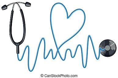 santé, symbole, bon, stéthoscope