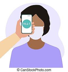 santé, téléphone, température, gens, distance, balayage