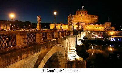 Sant Angelo Bridge and Sant Angelo Castel at night,...