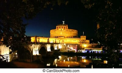 Sant Angelo Bridge side view and Sant Angelo Castel at night