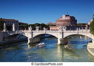 Sant' Angelo Castel and Ponte Vittorio Emanuele II in Rome, Italy