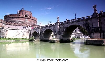 Sant Angelo Castel the view in motion from the river, camera...