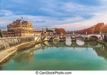 Sant Angelo Castle and Bridge in Rome, Italia. - The...