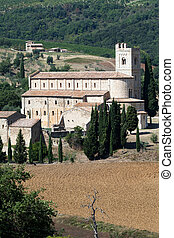 Sant Antimo Abbey near Montalcino in Tuscany, Italy