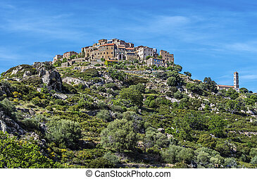 Sant Antonino village view in Corsica Island - View of Sant ...