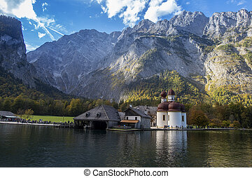 Sant Bartholomae church at Koenigssee in Bavaria