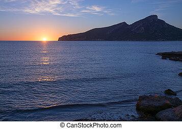 Sant Elm Sunset in early November. Sant Elm, Mallorca, Balearic islands, Spain.
