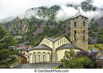 Sant Esteve church in Andorra. Romanesque architecture - ...